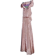 Tru Vintage Late 20's Early 30's French Peach Silk Deco GLAMOUR long dress ...