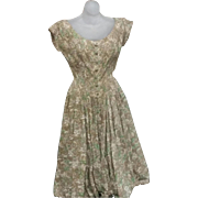 Tru Vintage 50's Rockabilly Dress FABULOUS hourglass silk rhinestones estate