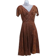 Tru Vintage 50's Rockabilly Dress Gown  FABULOUS COPPER Color
