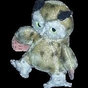 True Vintage 40's 50's Mohair Toy Plush Owl Stuffed Animal
