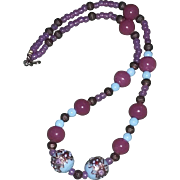 Vintage Murano Glass Wedding Cake Bead Necklace rose pink blue