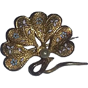 Vintage very old Victorian Posey Flower Watch Pin Brooch Holder Enameled Gold Gilt estate