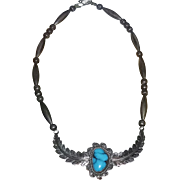 Old Pawn Unsigned Silver Turquoise Necklace Navajo Southwest Native American