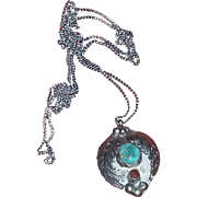Old Pawn Native American Navajo Silver Turquoise Coral Necklace Pendant estate