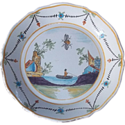 French Antique Faience Plate 1800s Man Fishing Napoleon Bee Mantique Estate
