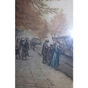 SALE Scarce Antique Etching Coloured Listed Artist Paris Street Scene Book Sellers Signed ...
