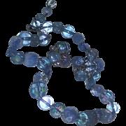 True Vintage Vogue Crystal Glass Rhinestone Earrings Necklace Set Blue Opalescent Demi Parure