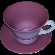 Rare Gundersen Pairpoint Satin Art Glass Peach Blow Cup Saucer estate