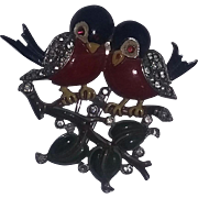 Vintage RARE Rhinestone Enameled Bird Pin Brooch Dress Fur Clip Philippe Trifari estate