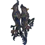 Vintage Coro Duette Rhinestone Enameled Bird Pin Brooch Fur Dress Clip estate Rare