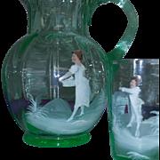 Scarce Mary Gregory ANTIQUE Vaseline Art Glass Pitcher Glasses Set estate