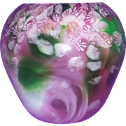 Studio Vintage American Art Glass Signed Paperweight Vase Boyer Michigan Ohio Canes FAB estate