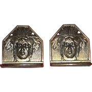 Very Old Vintage 20's Signed Judd Native American Bookends FABULOUS