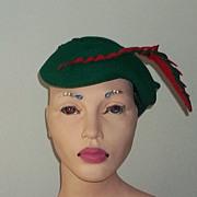Vintage 40's Forties Art Deco Era Red Green Felt Hat Wonderful Unusual Collector's ...