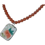 Artisan Necklace Sterling Peach Stone OLD Chinese Export China Pendant BEAUTIFUL