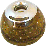 SOLD Antique Silver and Amber Bubble Glass Match Striker Holder