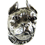 SALE PENDING Vintage Sterling Silver French Bulldog or Boston Terrier Large Pin Brooch