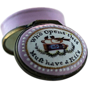 "SOLD Battersea Bilston Enamel – ""Open this – Have a Kiss"" - Patch Box C 1780"