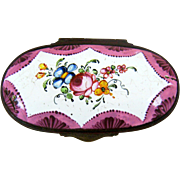 SALE Battersea Bilston English Enamel Snuff Box – Roses - C 1780