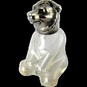 Vintage Glass & Silver Figural Bear Salt or Pepper Shaker