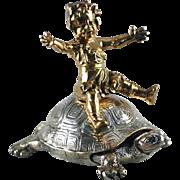 REDUCED Bronze Girl Riding Turtle, Dore Bronze – Christofle – C 1890