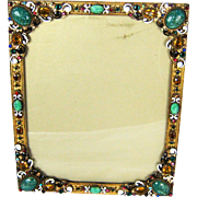 Vintage Austrian Bronze Czech Jeweled Easel Back Picture Frame