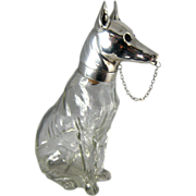 SALE Rare Austrian Figural Decanter – German Shepherd Dog – Crystal & Silver Plate