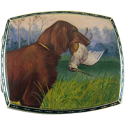 SALE Silver and Enamel Irish Setter Bird Dog Cigarette Case - c 1920