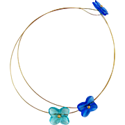 Baccarat  Hortensia 18K Gold Three Flower Necklace