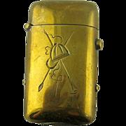 Antique Match Safe, Vesta – Equestrian -  Brass c 1900