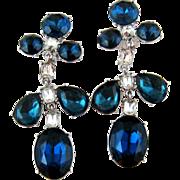 SALE Kenneth J Lane Large Blue and White Rhinestone Earrings