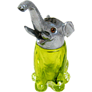 Vintage Elephant Lime Green Glass Figural Sugar Shaker