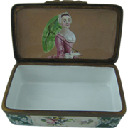 Battersea Bilston Enamel with Interior Portrait - Table Snuff Box- c 1770