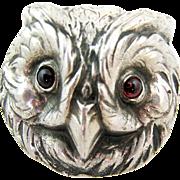 SALE Vintage Owl Sterling Silver Pin Brooch