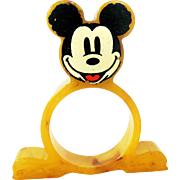 Rare Mickey Mouse Bakelite Napkin Ring - Butterscotch