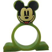 Rare Mickey Mouse Bakelite Napkin Ring – Green