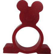 Mickey Mouse Bakelite Napkin Ring – Red