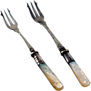 Set  Two Silver Plated Pickle Forks, Mother Of Pearl Handles, Sterling Ferrules