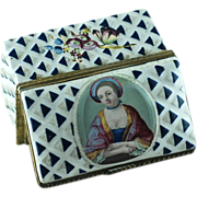 18th Century Battersea Bilston Enamel Portrait  Snuff Box