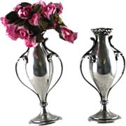 Pair Antique Sterling Silver Bud Vases – Howard – C 1890
