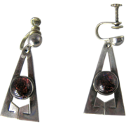 Pair Vintage Sterling Silver & Dragons Breath Jelly Opal  Earrings – Mexico
