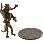 Antique Tiny Cold Painted Vienna Bronze Monkeys – C 1890