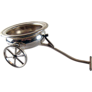 Vintage Wine Bottle Coaster Wagon Caddy - Silver Plate