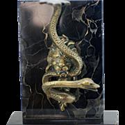 Antique Bronze Figural Watch Holder – Lion and Snake