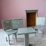 20s Chiffarobe Bedroom Dollhouse Miniature Painted Wood Furniture