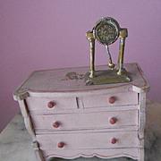Antique Dollhouse Miniature Metal Shelf Mantle Clock with Pendulum