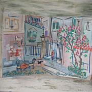 SOLD 40s Claude Rodewald Paris Cafe Impressionistic Diorama Painting