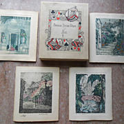 1920 Bridge Card Game Holmes Garden Etching Score Cards n Box