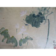 Vintage Chinese Modern Lotus Painting Signed Vera Chao