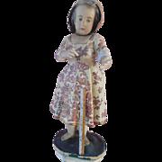 """Antique 27"""" Poured Wax Papier Mache Creche Doll Nativity Figure"""